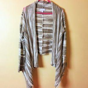New York & Company Striped Open Cardigan Size L